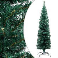 vidaXL Úzky umelý vianočný stromček s podstavcom, zelený 150 cm, PVC