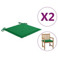 vidaXL Podložky na záhradné stoličky 2 ks, zelené 50x50x4 cm