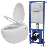 vidaXL Keramické závesné WC v tvare vajca s podomietkovou nádržou, biele