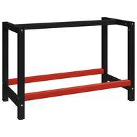 vidaXL Rám na pracovný stôl kovový 120x57x79 cm čierno-červený