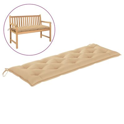 vidaXL Podložka na záhradnú lavičku, béžová 150x50x7 cm, látka