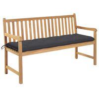 vidaXL Záhradná lavička, antracitová podložka 150 cm, tíkový masív
