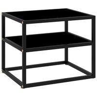 vidaXL Konzolový stolík čierny 50x40x40 cm tvrdené sklo