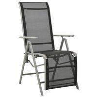 vidaXL Sklápacia záhradná stolička hliník a textilén strieborná