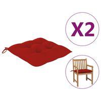vidaXL Podložky na stoličku 2 ks, červené 50x50x7 cm, látka
