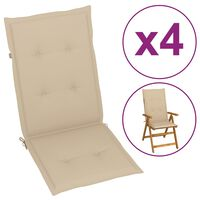 vidaXL Podložky na záhradné stoličky 4 ks, béžové 120x50x4 cm