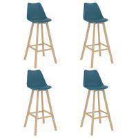 vidaXL Barové stoličky 4 ks tyrkysové PP a masívne bukové drevo