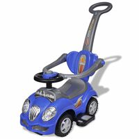 Modré detské odrážacie autíčko s vodiacou tyčou