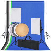 vidaXL Fotografická súprava s 5 farebnými pozadiami & 2 softboxmi