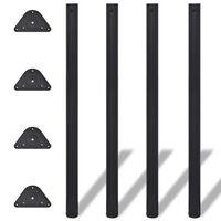 4 výškovo nastaviteľné stolové nohy, čierne, 1100 mm