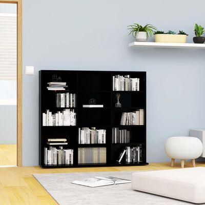 vidaXL Skrinka na CD, lesklá čierna 102x23x89,5 cm, drevotrieska