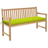 vidaXL Záhradná lavička, jasnozelená podložka 150 cm, tíkový masív