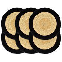vidaXL Prestierania 6 ks, prírodná a čierna 38 cm, juta a bavlna