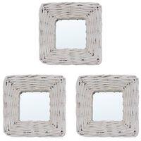 vidaXL Zrkadlá 3 ks, biele 15x15 cm, prútie