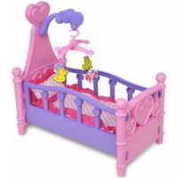 Detká postieľka/kolíska pre bábiky, ružovo-fialová