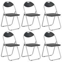 vidaXL Skladacie jedálenské stoličky 6 ks čierne umelá koža