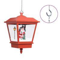 vidaXL Vianočná závesná lampa s LED osvetlením a Santom červená 27x27x45 cm