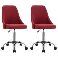 vidaXL Kancelárske stoličky na kolieskach 2 ks vínovo-červené látkové