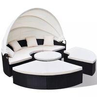 vidaXL Záhradná posteľ, polyratan, čierna