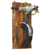 vidaXL Nástenná lampa s dizajnom skútra železo a masívne mangové drevo