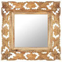 vidaXL Ručne vyrezávané zrkadlo hnedé 50x50 cm masívne mangovníkové drevo