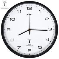 vidaXL Rádiom ovládané nástenné hodiny, strojček Quartz,biele a čierne
