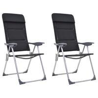 vidaXL Kempingové stoličky 2 ks čierne 58x69x111 cm hliníkové