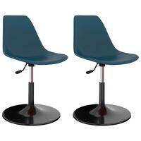 vidaXL Otočné jedálenské stoličky 2 ks, tyrkysové, PP