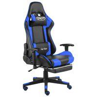 vidaXL Otočná herná stolička s opierkou nôh modrá PVC