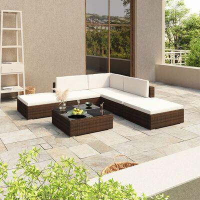 vidaXL 6-dielna záhradná sedacia súprava hnedá polyratanová