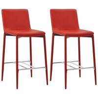 vidaXL Barové stoličky 2 ks, červené, umelá koža