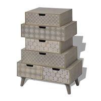 vidaXL Príručná skrinka, 6 zásuviek, sivá