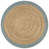 vidaXL Ručne vyrobený jutový koberec s olivovo-zelenými okrajmi 90 cm