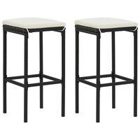 vidaXL Barové stoličky s vankúšmi 2 ks čierne polyratan