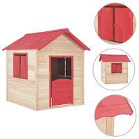 vidaXL Detský domček na hranie, jedľové drevo, červený