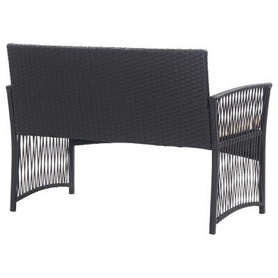 vidaXL 4-dielna záhradná sedacia súprava s vankúšmi polyratan čierna