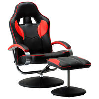 vidaXL Skladacia herná stolička s podnožkou červená umelá koža