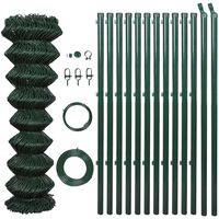 vidaXL Drôtené pletivo+stĺpiky, oceľ 1,5x15 m, zelené