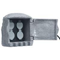 vidaXL Záhradná zásuvková jednotka so 4 slotmi a diaľkovým ovládaním polyresin sivá