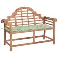 vidaXL Záhradná lavička s podložkou, vzor lístia 120 cm tíkový masív