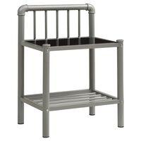 vidaXL Nočný stolík sivý a čierny 45x34,5x62,5 cm kov a sklo