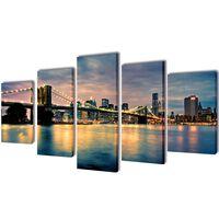 Sada obrazov na stenu, motív Brooklynský most a rieka 100 x 50 cm