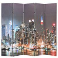 vidaXL Skladací paraván 200x170 cm, potlač nočného New Yorku