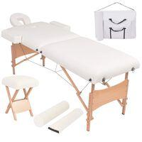 vidaXL Sklápací 2-zónový masérsky stôl a stolička 10 cm hrubý biely