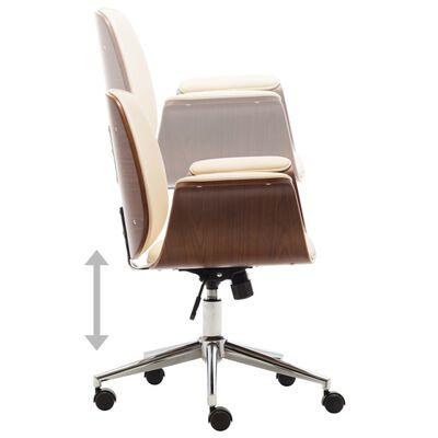 vidaXL Kancelárska stolička krémová ohýbané drevo a umelá koža