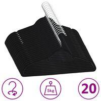 vidaXL 20-dielna sada vešiakov na oblečenie protišmyková čierna zamatová
