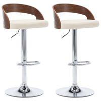 vidaXL Barové stoličky 2 ks, krémové, umelá koža a ohýbané drevo
