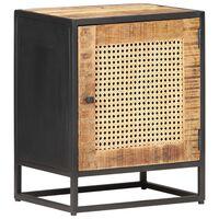 vidaXL Nočný stolík 40x30x50 cm surové mangovníkové drevo a rákos