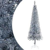 vidaXL Úzky vianočný stromček strieborný 180 cm
