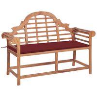 vidaXL Záhradná lavička s vínovočervenou podložkou 120 cm tíkový masív